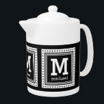 "Custom monogram, name & color teapot<br><div class=""desc"">Change the text fields to whatever you want. Using the ""Customize it"" function,  you can also change (EDIT) the background color to whatever color you want. See my store for more items with this design - matching cups,  coasters,  and other dinnerware also available!</div>"