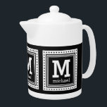 """Custom monogram, name & color teapot<br><div class=""""desc"""">Change the text fields to whatever you want. Using the """"Customize it"""" function,  you can also change (EDIT) the background color to whatever color you want. See my store for more items with this design - matching cups,  coasters,  and other dinnerware also available!</div>"""
