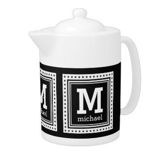 Custom monogram, name & color teapot