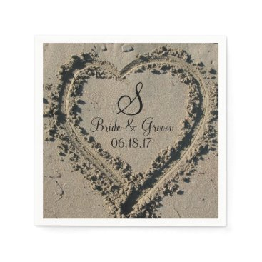WeddingPostage Custom Monogram Name Date Beach Wedding Sand Heart Napkin