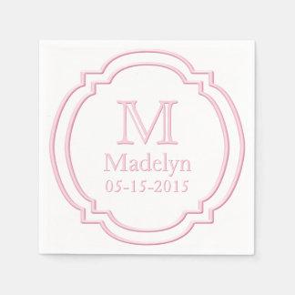 Custom Monogram Name Date White Pastel Pink Frame Paper Napkin