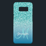 "Custom Monogram Name Girly Teal Faux Glitter Case-Mate Samsung Galaxy S8 Case<br><div class=""desc"">Cute, fun, girly bright teal glitter effect PRINTED design with black text. You can personalize with your name, your text or your initials to have it monogrammed in a bold script font. Elke Clarke© A stylish, fashion trendy, chic design for her. For other glitter colors for the background please contact...</div>"
