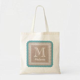 Custom Monogram Name Rustic Burlap Teal Lace A05 Tote Bag