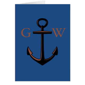 Custom Monogram Nautical Anchor and Line Card