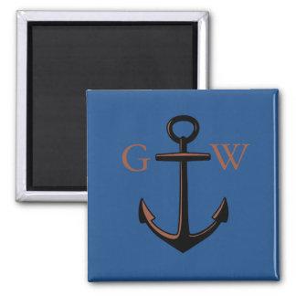 Custom Monogram Nautical Anchor and Line Magnet
