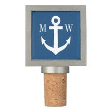 Custom monogram nautical anchor wedding favor wine stopper