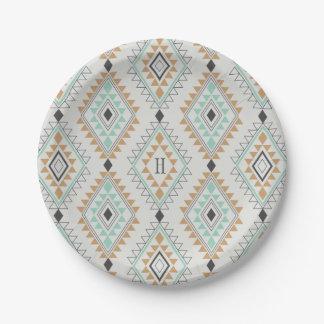 Custom Monogram Navajo Diamonds Paper Plate