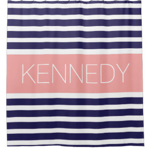 Custom Monogram Navy Blue Coral Nautical Stripes Shower Curtain