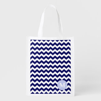 Custom Monogram Navy Blue White Chevron Zigzags Grocery Bags