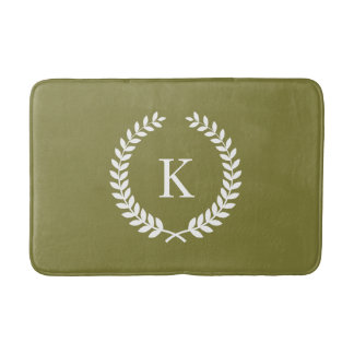 Custom Monogram Olive Green and White Bathroom Mat