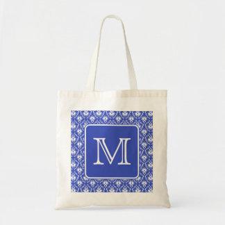 Custom Monogram, on Blue and White Damask Pattern. Bag