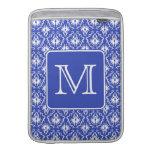 Custom Monogram, on Blue and White Damask Pattern. MacBook Sleeves