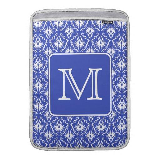 Custom Monogram, on Blue and White Damask Pattern. MacBook Air Sleeves