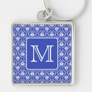 Custom Monogram, on Blue and White Damask Pattern. Silver-Colored Square Keychain