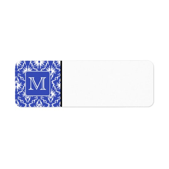 Custom Monogram, on Blue and White Damask Pattern. Label