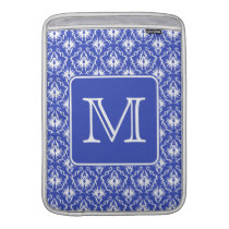 Custom Monogram, on Blue and White Damask Pattern. MacBook Sleeve