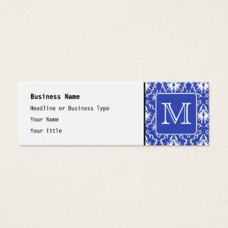 Custom Monogram, on Blue and White Damask Pattern. Mini Business Card