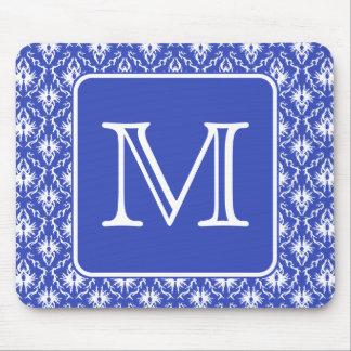 Custom Monogram, on Blue and White Damask Pattern. Mouse Pad