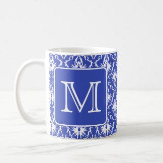 Custom Monogram, on Blue and White Damask Pattern. Coffee Mug