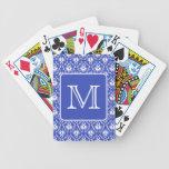 Custom Monogram, on Blue and White Damask Pattern. Card Deck