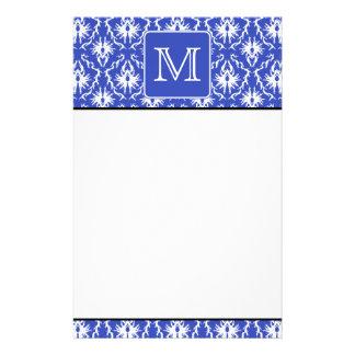 Custom Monogram on Blue and White Damask Pattern Stationery