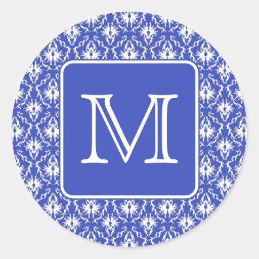 Custom Monogram, on Blue and White Damask Pattern. Sticker