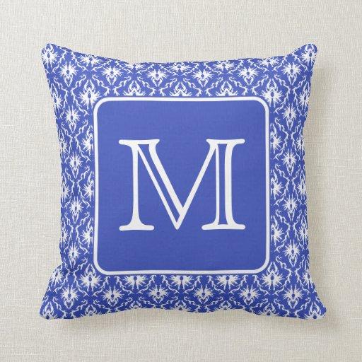 Custom Monogram, on Blue and White Damask Pattern. Throw Pillow