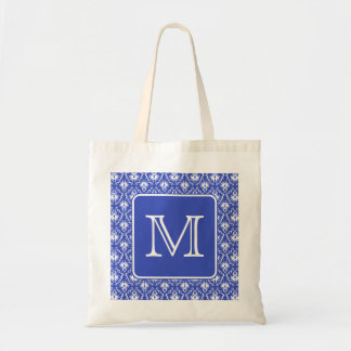 Custom Monogram, on Blue and White Damask Pattern. Tote Bag