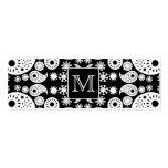 Custom Monogram on Monochrome Paisley Pattern. Business Card Template