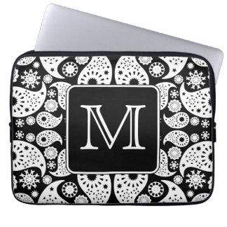 Custom Monogram on Monochrome Paisley Pattern. Computer Sleeve