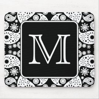 Custom Monogram on Monochrome Paisley Pattern. Mouse Pad