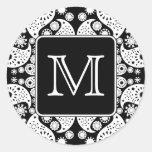 Custom Monogram on Monochrome Paisley Pattern. Round Stickers