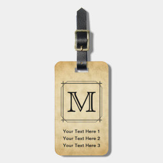 Custom Monogram on Parchment Style Pattern Bag Tag