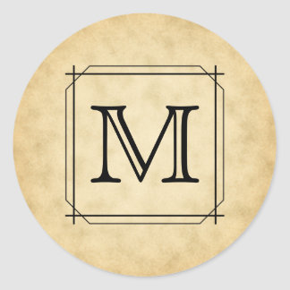 Custom Monogram on Parchment Style Pattern Classic Round Sticker