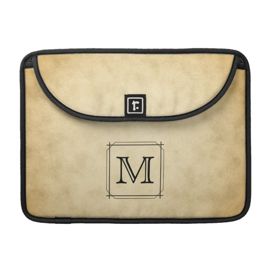 Custom Monogram on Parchment Style Pattern Sleeve For MacBooks