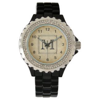 Custom Monogram on Parchment Style Pattern Wrist Watch