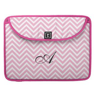Custom Monogram on Pink Chevron ZigZag Pattern Sleeve For MacBooks