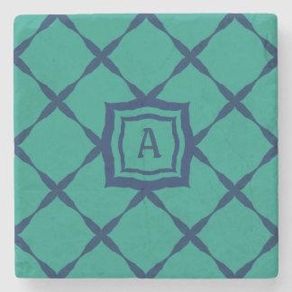 Custom Monogram on Realistic-Looking Teal Tiles Stone Coaster
