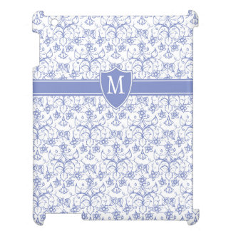 Custom Monogram on Stylish Blue Periwinkle Pattern Cover For The iPad 2 3 4