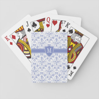 Custom Monogram on Stylish Blue Periwinkle Pattern Playing Cards