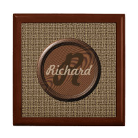 Custom Monogram on Walnut Disc Keepsake Box