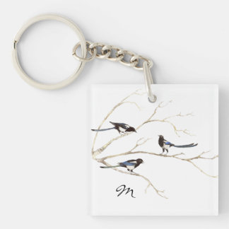 Custom Monogram or Name Magpie Family  Bird Single-Sided Square Acrylic Keychain