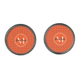 Custom Monogram Orange Abstract Decorative Floral Gunmetal Finish Cufflinks