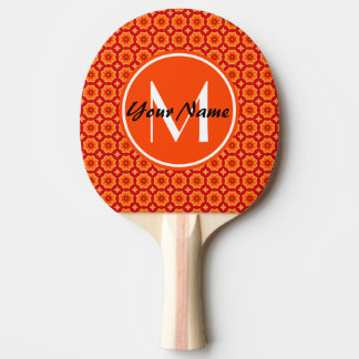 Custom Monogram Orange Abstract Decorative Floral Ping-Pong Paddle