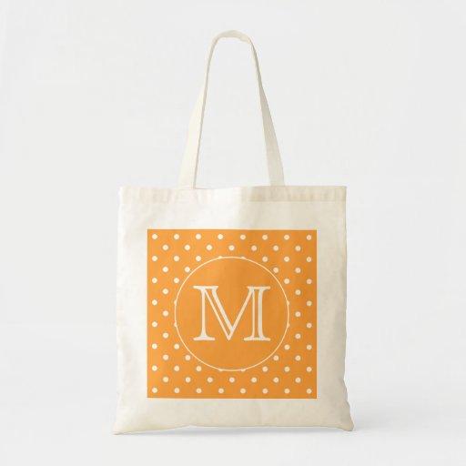 Custom Monogram. Orange and White Polka Dot. Bag
