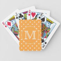 Custom Monogram. Orange and White Polka Dot. Bicycle Playing Cards
