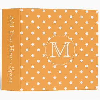 Custom Monogram. Orange and White Polka Dot. 3 Ring Binder