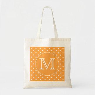 Custom Monogram. Orange and White Polka Dot. Budget Tote Bag