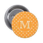 Custom Monogram. Orange and White Polka Dot. Button
