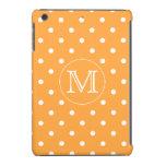 Custom Monogram. Orange and White Polka Dot. iPad Mini Cases